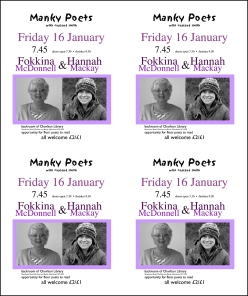 Poster for Poetry Reading: Fokkina McDonnell & Hannah Mackay at Manky Poets